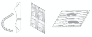 Zahner patent images for undulated metal panel system.