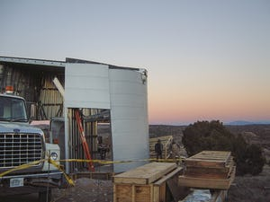 Turbulence House installation process in Abiquiu, New Mexico.