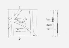 """Architectural drawings detailing the """"bird"""" connection."""