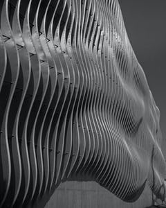 "Undulating fin-facade of the Zahner ""CloudWall"" in Kansas City."