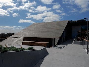 Rooftop zinc reflecting the sun