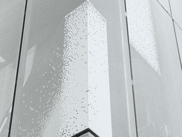 Detail of the unique perforated skin of the Cooper Union facade in New York City.