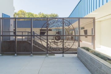 North screenwall with the Washington Elementary in Sacramento.