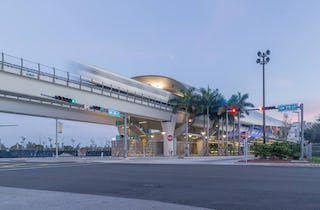 Photograph of a train leaving the Miami Intermodal Center.