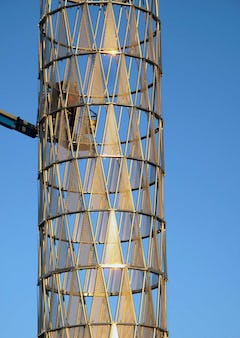 Gold-colored ti-coated stainless steel used on Hope Tower at UNMC.