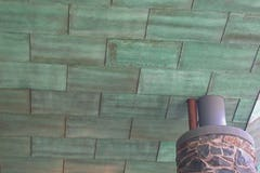 Soffit copper panels for the canopy