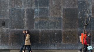Distressed metal facade