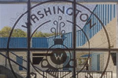 Detail of the logo screenwall for the Washington Elementary in Sacramento.