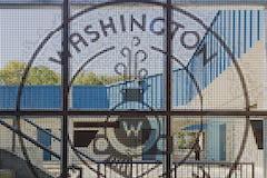 Detail of the logo screenwall for the Washington Elementary in Sacramento.