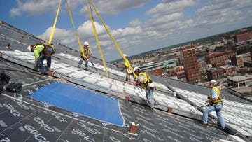 Detail of the Kauffman Center roof during construction.