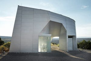 """Micro-residence """"Turbulence House"""" clad in Galvalume."""