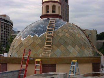 Roano Zinc-clad Dome on the Country Club Plaza during installation.