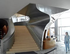 View of the Hunter Museum interior staircase after completion.