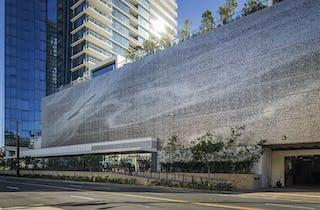 Waiea building parking structure facade in Honolulu, Hawaii.