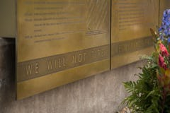 Custom engraved lettering for 911 Memorial.