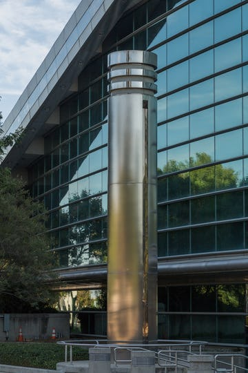 Custom stainless steel column-clad system for Fresno City Hall.