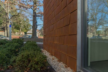 Brown University Applied Math Building, clad in Zahner Solanum Weathering Steel.