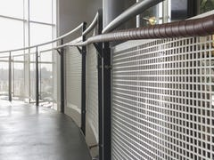 Handrail screens with custom perforations in aluminum