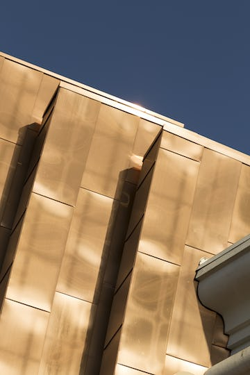 Copper-color titanium-coated stainless steel used on the Treasure Island casino in Las Vegas.