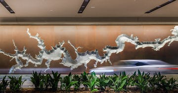 Art wall, fabricated in Solanum Steel and aluminum, at the Hyatt Regency Hotel in Houston.