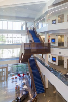 Staircase design at the KU Business School.