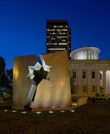 The Ohio Memorial after dusk on the lawn of the Ohio Statehouse