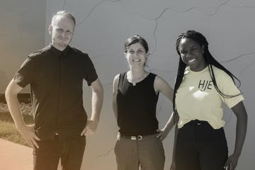 Pictured left to right: James Coleman (Lead R&D Engineer), Interns Burcin Nalinci and Michelle Menkiti