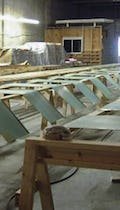 Prepatinated copper skins for Brandywine Hundred Library in the Zahner shop