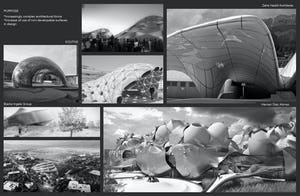 Architectural renderings showing architecture firms' use of dual curvatures.
