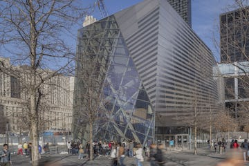 Striating stainless steel panel system used on the 911 Museum facade.