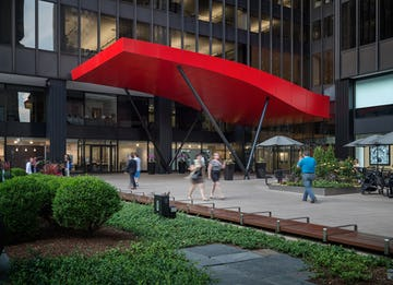 The red aluminum canopy for Michigan Avenue Plaza in Chicago.
