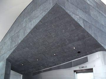 Geometric zinc panels on the Hunter Museum.