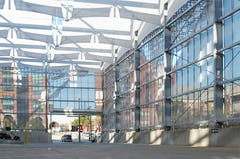 The formed expanded aluminum surface allows light to filter into the Bartle Hall Loading Dock.