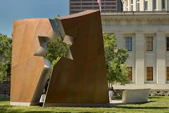 The Ohio Holocaust Memorial is clad in prepatinated bronze