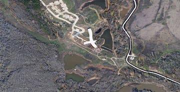 Aerial photograph of the Trinity River Audubon site.