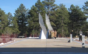 Winged Refuge Sculpture at the Air Force Academy at Colorado Springs, by artist John Lajba.