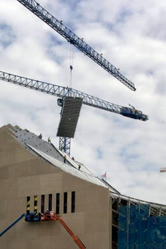 A single ZEPPS panel for the roof system is hung at Kauffman Center.