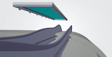 Custom drop and lock panel with glass inset attaches to a notched female vertical rib component.