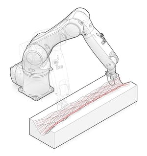 Making w/ Robots – A robot arm hot knife cutting through foam. Zahner uses similar computer controlled tools in their manufacturing processes.