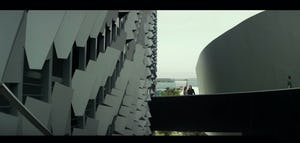 Film still from The Circle featuring Emerson College in Los Angeles as The Circle's corporate campus.