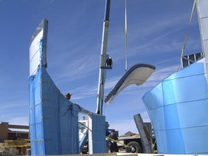 A single ZEPPS assembly is raised and installed at the Turbulence House in Abiquiu, New Mexico.