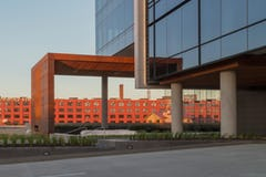 Weathering steel at sunset for the Gulch Crossing canopy.