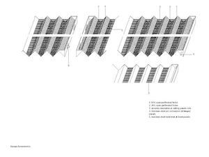 Graphic showing the perforated ceiling system for the Graphic showing the perforated ceiling system for the Nerman Museum of Art.