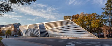 South side view of the Broad Museum in East Lansing, Michigan.