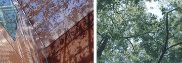 Early example of image-based perforated metal: de Young Museum (Left) and original source imagery (Right).