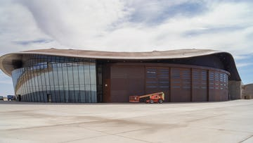 Spaceport America nears completion in Truth or Consequences, New Mexico.