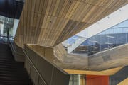 Custom zinc stairway guardrail for Stanford University