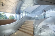 Interior grand stair at Hunter Museum of Art