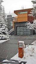 Snow falls at the Dayton Residence in Vail, Colorado.
