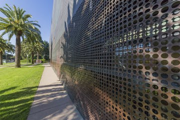 The de Young Museum in California is made from copper, and will eventually turn to a green patina.